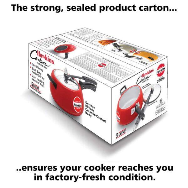 Hawkins Red Contura Ceramic Pressure Cooker 5L